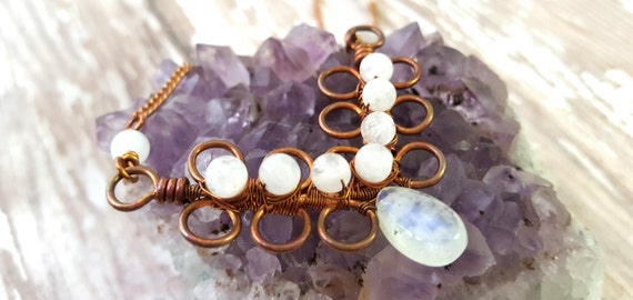 Rainbow Moonstone Necklace - Copper Wire Wrap Bib Necklace - White Gemstone Necklace - Bohemian - Gypsy - Art Nouveau Necklace - Filigree