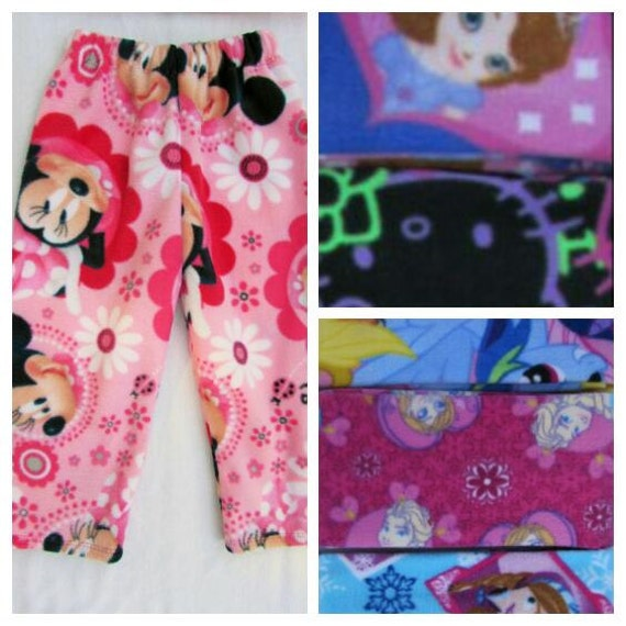 Girls fleece pajamas/girls pajamas/toddler pajamas/Minnie Mouse/hello kitty/frozen/MLP/doc mcstuffin/Sophia/7 different prints