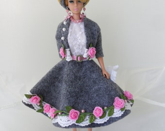Collectible Barbie Clothes Handmade Romantic Barbie Dress Set Modest Barbie Clothes Shabby Cottage Fashion Doll Clothes Gray Wool and Roses