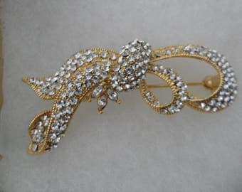 Diamante Rhinestone Broach Bow Pin Bow Brooch Special Occasion Jewelry Evening Jewelry Large Bridal Broach Statement Rhinestone Brooch