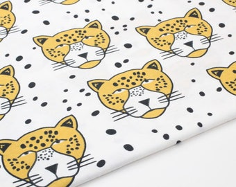 Cotton Jersey Knit Fabric Leopard By The Yard