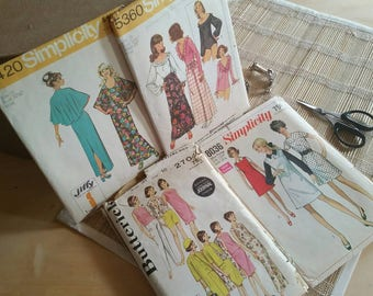Simplicity 60s-70s S-10 Lot of Vintage Patterns 5420 - 5360 - 8036 Butterick 2704
