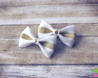 "SALE White Gold Hair Bows, Baby Toddler Hair Bows, Ribbon Hair Bows, Hair Clips, 2.5"" Hair Bows, Modern Trendy Girls Hair Bows, Summer Bows"