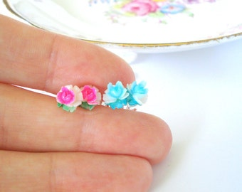 Vintage Rose Posts, Hand-Painted Roses, Floral Stud Earrings, Little Flower Earrings, Gift for Her