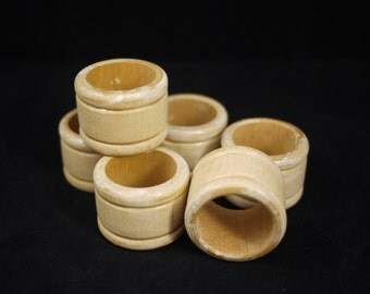 Vintage Set of Six (6) White Stained Wood Napkin Rings