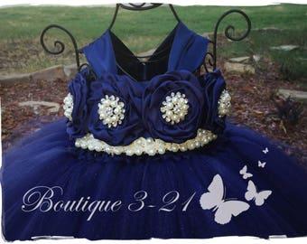 SALE!! Navy Blue Flower Girl Dress, Navy Blue tutu dress, Navy Blue Flower Girl Tutu Dress, Blue Flower Girl Dress, Blue Tutu Dress
