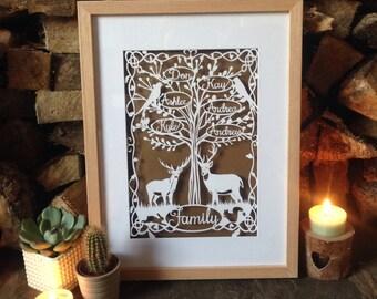 Family tree papercut - A4 - personalised - Papercutting - art -  stag - framed - bespoke - woodland - bird - art