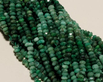 100% Natural 4mm-5mm emerald faceted rondelle 13 inch Strand, Natural Emerald faceted Beads
