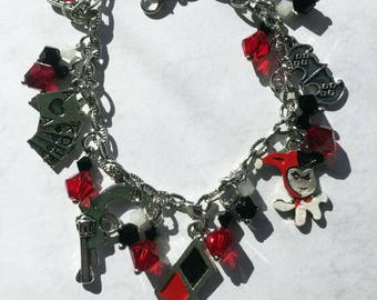 Classic Harley Quinn Inspired Loaded Bracelet