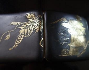RARE Japanese Shakudo Damascene Cigarette Case with wisteria SALE was 99.00 Now 49.00