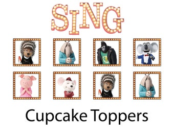 SING Movie Cupcake Toppers Stickers 1 1/2""