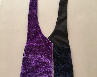 Handmade Upcycled Purple and Blue Plush Hobo Shoulder Purse