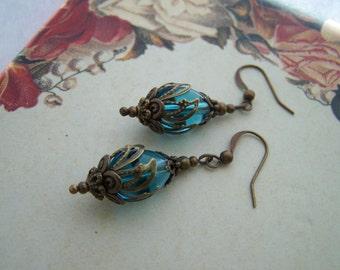 Vintage Style Aqua Blue Earrings