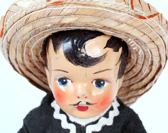 Vintage Mexican Composition Doll