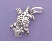 HORNED Toad Charm .925 Sterling Silver Texas Lizard Charm MINIATURE Small - elp20013