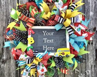 Teacher Wreath, Education Wreath, Classroom Decor, Chalkboard Wreath, Teacher Appreciation Gift, Teacher Decor, School Wreath, School Decor
