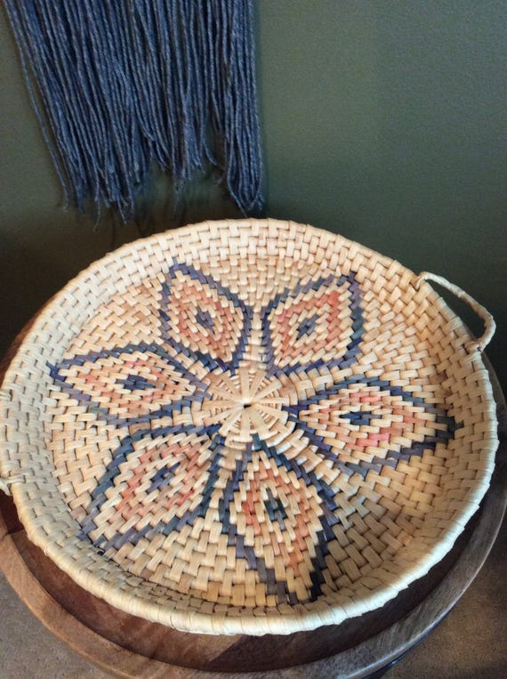 Vintage Boho Chic Woven Basket Tray With Handles/Basket Tray/Woven Tray/ BOHO Decor/