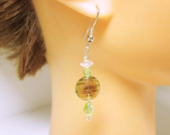 Green Boho Earrings Green Boho Dangles With Accent Beads JEWELRY