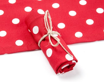 Handkerchief, 100% cotton, red with white dots