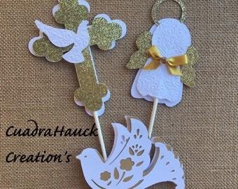 Baptism centerpieces stick/ Angel centerpieces stick/ Dove centerpieces stick/ White and Gold baptism centerpieces stick