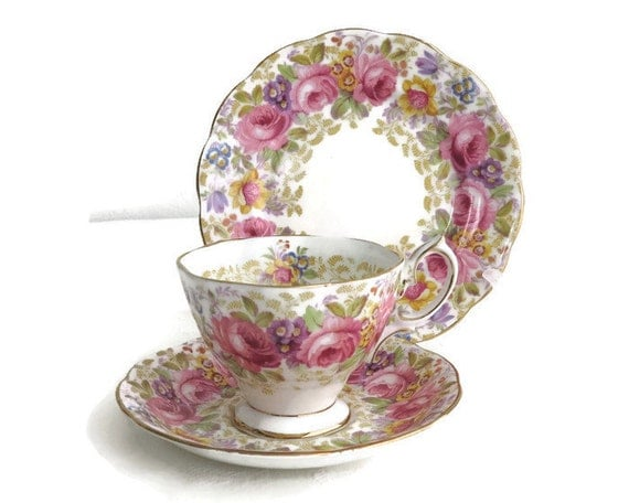 """Royal Albert """"Serena"""" cup, saucer, plate, Avon shaped footed cup, pink roses & other flowers, floral border inside cup, gilt, 1940s"""