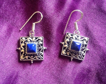 Tibetan Lapis Luzuli Dangle Earrings