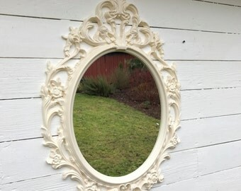 Baroque Mirror, Bathroom Mirror, Ornate Shabby Cottage Chic Mirror, Ivory Antique White Nursery Mirror, Vintage Style Wall Hanging