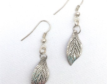 Nature inspired leaf design charm drop earrings for pierced ears