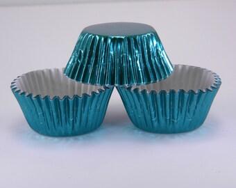 48 Aqua Foil Standard Size Cupcake Liners Baking Cups