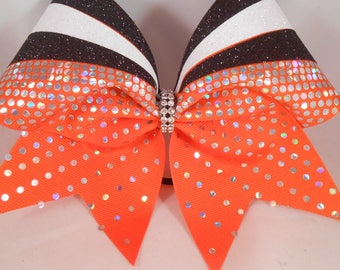 Cheer Bow CUSTOM Colors Glitter on Grosgrain w Holographic Sequins by BlingItOnCheerBowz Orange Black White Silver