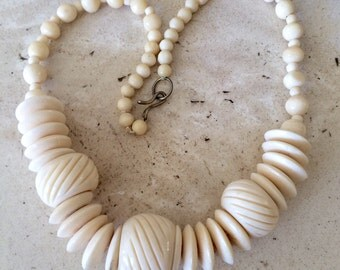 Vintage Chunky Carved Bone Necklace. Great Looking, Measuring  19 1/2 Inches Long.