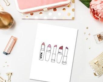 The Lipsticks - Printable Art Print - 5x7