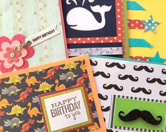 Birthday Cards - Card Set - Handmade Cards - Birthday Variety - Kids Birthday - Birthday Party - Birthday Card Set - Happy Birthday Cards