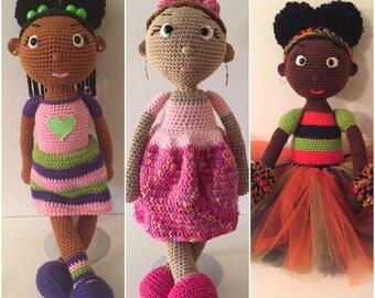 African American Doll, Amirugumi Doll, Crochet Doll, Natural Hair Doll