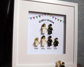 0023LW Large Wedding Party LEGO® Wedding customisable Wall Art Frame