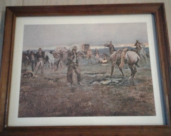 C M Russell Western print When horses talk there's slim chance for truce Vintage print Western art