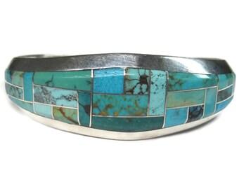 Vintage 90s Navajo Turquoise Inlay Cuff Bracelet Keevin Keyana