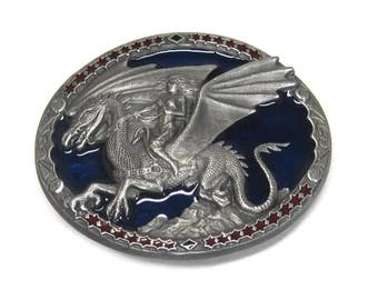 Vintage 1991 C&J Pewter Enamel Dragon Rider Belt Buckle