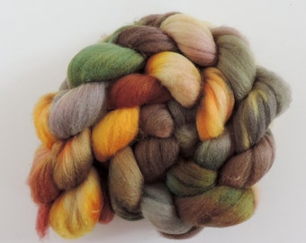 merino silk,Autumn Leaves, top, handpainted fiber for spinning, .4,2oz