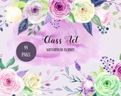Watercolor Clipart Class Act Collection - subtle green, pink and purple roses, decorative elements and floral frames for instant download