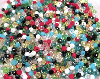 Small Mixed Rondelle Faceted Crystal Beads 3mm