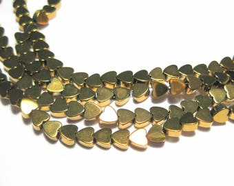 1 Strand Small Gold Heart Hematite Beads Non-magnetic 4mm stone beads