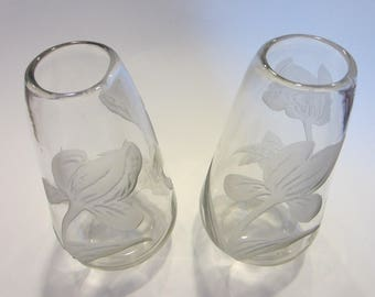 Legras Cameo Tulips France Glass Vases In Pair