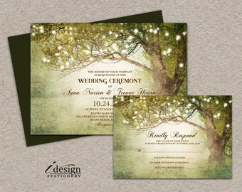 Woodland String Lights Wedding Invitation With Rsvp | Enchanted Printable Rustic Country Backyard Garden Or Tree Themed Wedding Invitations