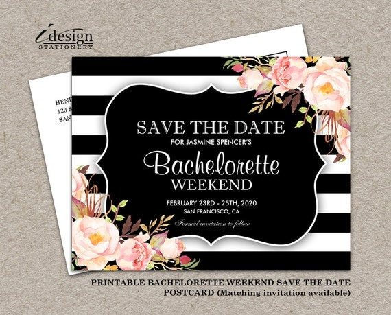 floral bachelorette weekend invitation save the date postcard