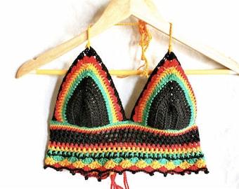 Rasta crochet crop top, crochet bikini top, rasta halter tie top, crochet halterneck top, festival top, rasta bikini, rasta halter tie
