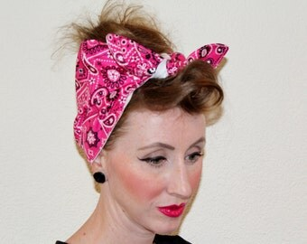 Hot Pink Bandana Head Wrap Extra Wide Women's 1940's Retro Vintage Inspired Head Scarf Rockabilly Dust Cap Paisley Top Knot