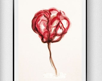 Flower Painting Art Print, Abstract Flower,Watercolor Painting, Birthday Gift, Gift Idea, Gift for her, Wall Decor