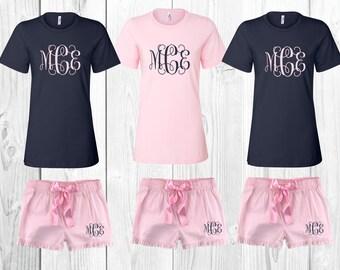 monogrammed shirt, monogrammed shorts, monogrammed pajamas, monogrammed pj set, personalized pajamas, bridesmaid gift, wedding gift