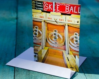 Ocean City Maryland Photo Greeting Card - Skee Ball Game Greeting Card - Boardwalk Photo Cards - Gifts for Beach Lovers - Vintage Games